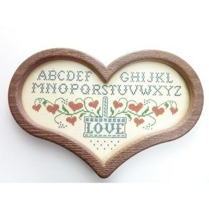 Vintage Cross Stitch Sampler Alphabet Heart Shaped
